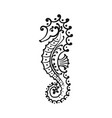 seahorse silhouette sketch for your design vector image vector image