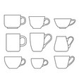 set cups icons on a white background vector image