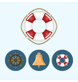 Set icons with colored bell lifebuoy ship wheel vector image vector image