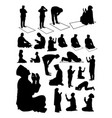 silhouette muslim praying vector image