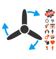 three bladed screw rotation icon with dating bonus vector image vector image