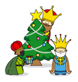 three kings leaving gifts vector image vector image