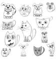 Hand drawn cats dogs and mouse set vector image