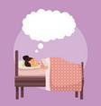 colorful scene girl sleep with blanket in bedroom vector image