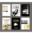 A set of brochures with golden hand-drawn design vector image vector image
