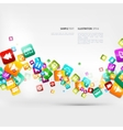 Abstract music background with notes and app icons vector image vector image