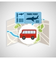 airline ticket map travel bus transportation vector image vector image