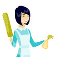 asian housemaid holding spray bottle and duster vector image