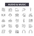 audio and music line icons signs set vector image vector image