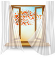 autumn background with open window and colorful vector image vector image