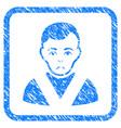 awarded man framed stamp vector image vector image