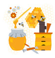beekeeping concept with products and equipment vector image