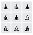 black christmas tree icon set vector image vector image