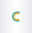 blue orange letter c logotype vector image vector image