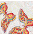 card with two decorative colorful butterflies on a vector image vector image