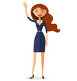 carroty woman waving her hand flat cartoon vector image vector image