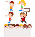 cartoon children holding blank sign vector image vector image