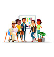 characters team working in coworking space vector image vector image