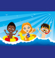 children are swimming in water vector image