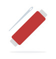 coil red thread with a needle flat isolated vector image vector image