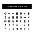 computer hardware icon set with black color glyph vector image vector image