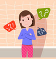 confused woman thinking question marks bubbles vector image