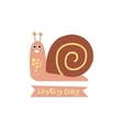 Cute snail with a sign for text vector image vector image