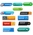 different design of download and upload button vector image vector image
