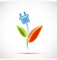 electric plug with green plant leaves eco power vector image