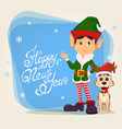 elf standing close to funny dog vector image