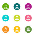 experienced people icons set flat style vector image vector image
