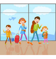 family goes on a trip vector image vector image