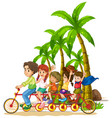 family riding bicycle in park vector image