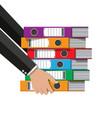 files in hand ring binders office folders vector image vector image