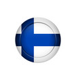 finnish flag on the round button vector image