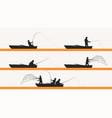 fisherman in boat silhouette set vector image vector image