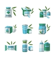 Flat color icons set for baby food vector image