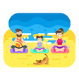 flat style of family doing yoga with dog vector image vector image