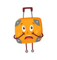 flat travel bag suitcase character afraid vector image vector image