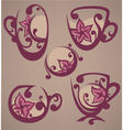floral tea cups and drink vector image vector image