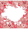 frame with many hearts vector image