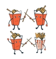 Funny characters Chinese food boxes and french vector image vector image