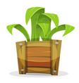 funny green plant in wood bucket vector image vector image