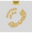 Gold glitter icon of mobile phone isolated vector image