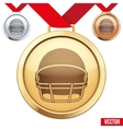 Gold Medal with the symbol of a football inside vector image vector image
