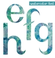Green-blue watercolor font EFGH vector image vector image
