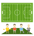 Green football field with football players vector image