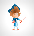 Guy university graduate with pointer vector image vector image