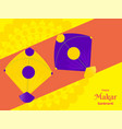 happy makar sankranti font with two kites vector image vector image