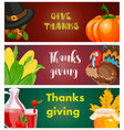 happy thanksgiving card celebration banner design vector image
